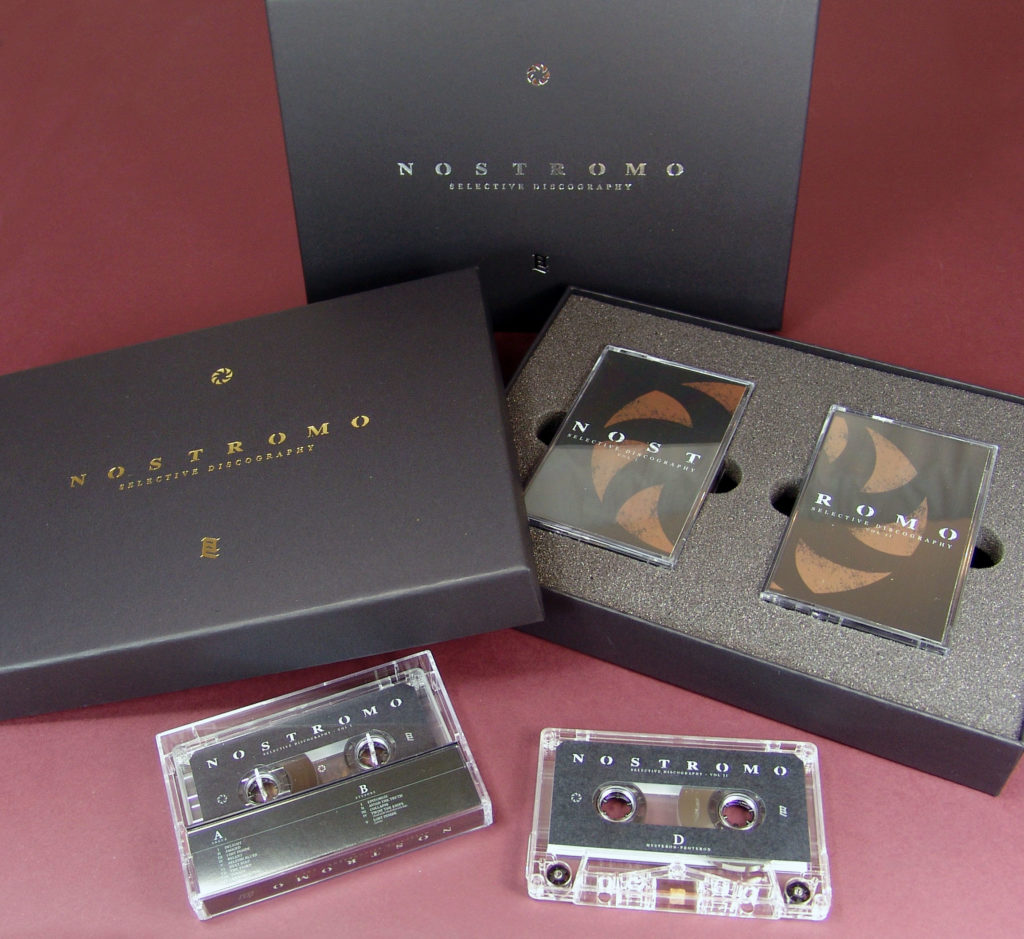 Double cassette tape box sets in silver and gold foil printed boxes