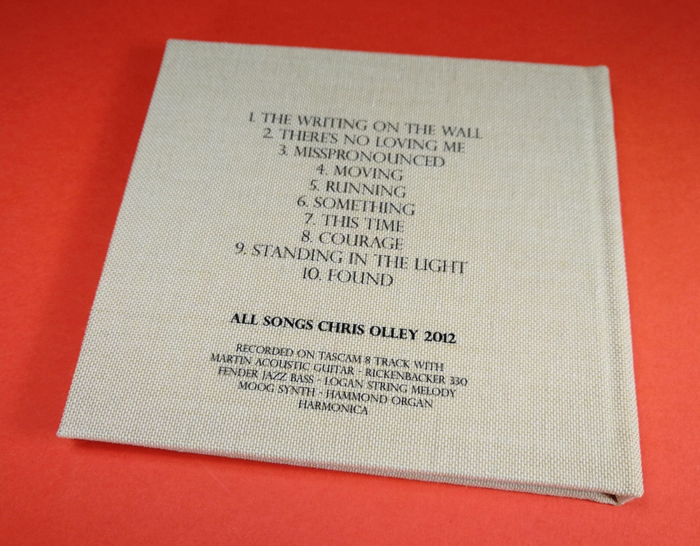 Stone coloured weft linen hardback printed CD digipak