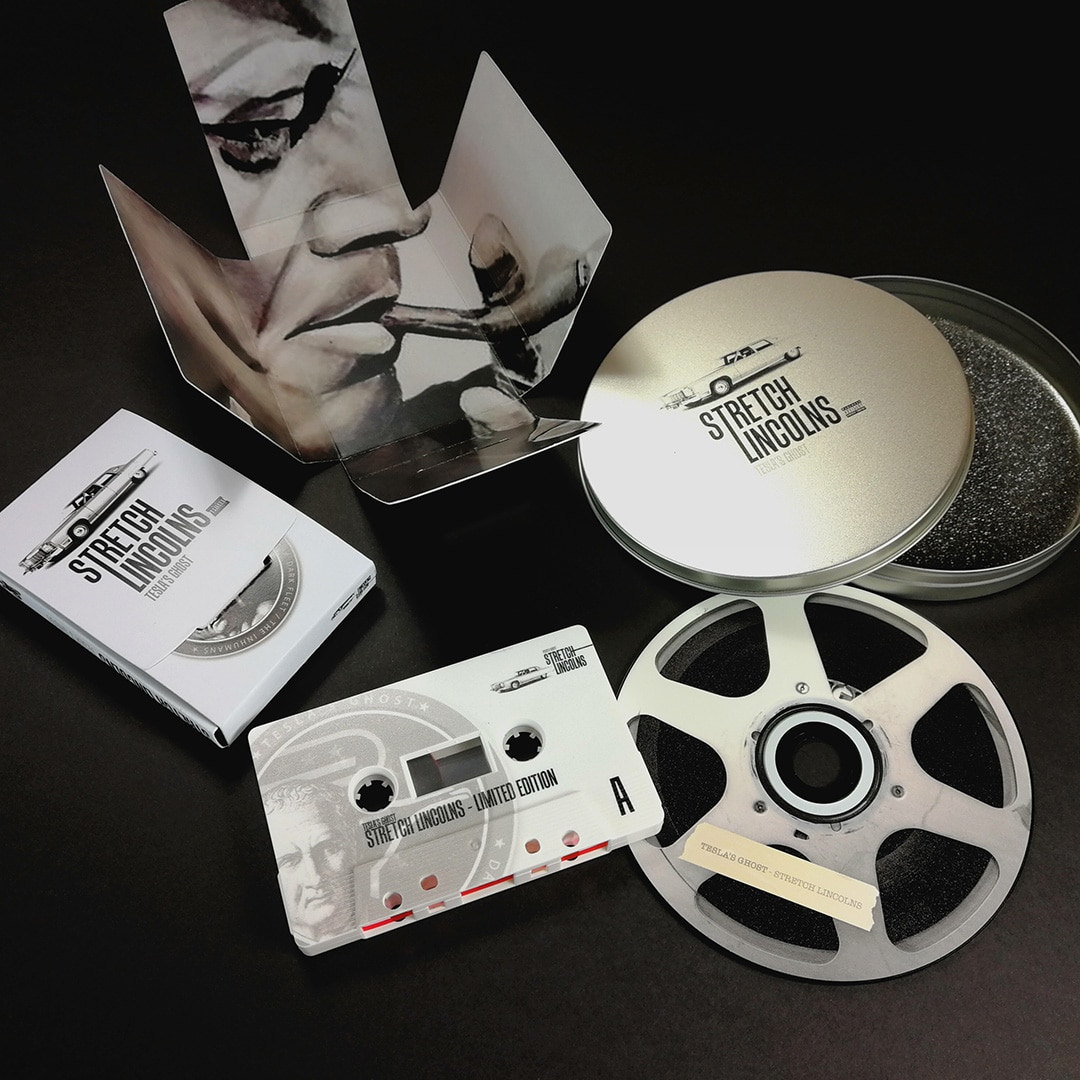 Printed CD tin set with cassette tapes in Maltese cross folding boxes with full coverage print on the tapes