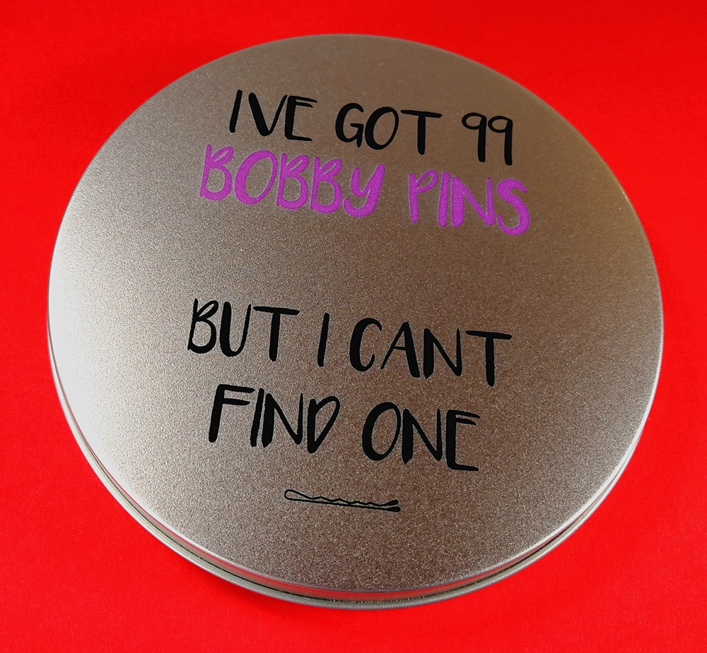 Bobby pins CD tin with UV LED printing
