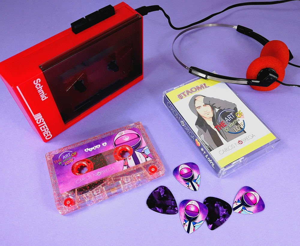 Glitter cassette tapes and purple guitar picks matching set