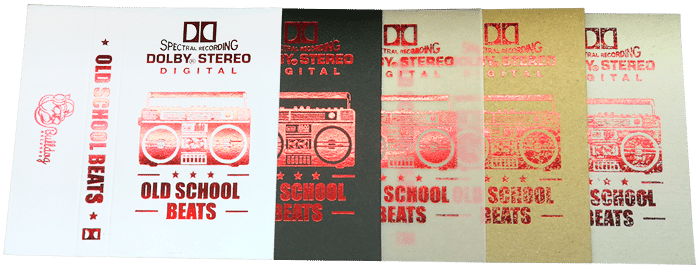 Hot foil printed metallic cassette J-card material options