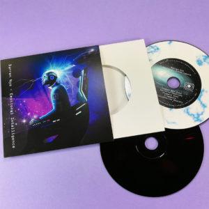 Black base vinyl effect discs, with a custom marble vinyl ring print on top