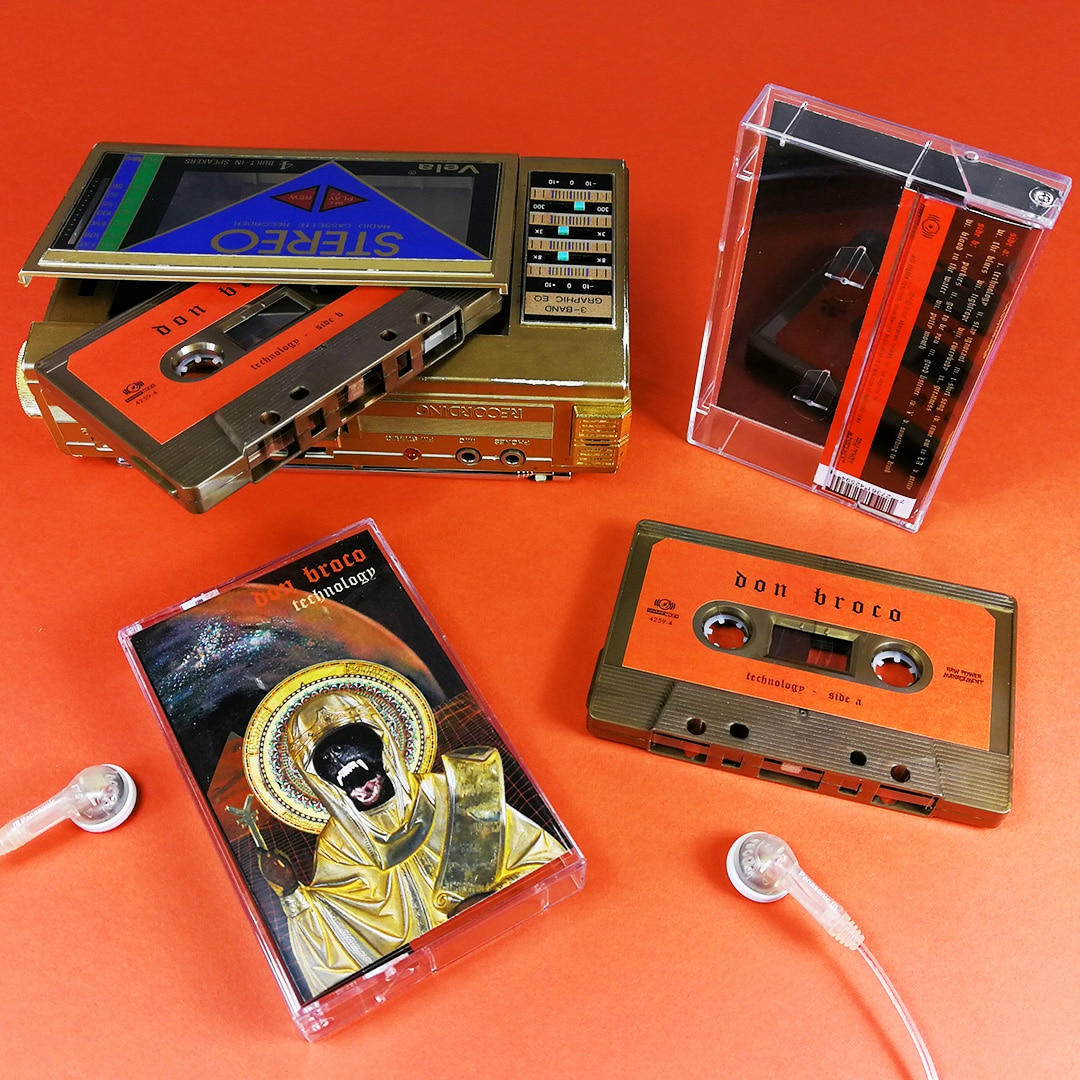 Antique bronze cassette tapes with stickers and J-cards