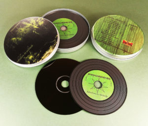 Vinyl CDs in printed metal tins with full coverage lid and base prints