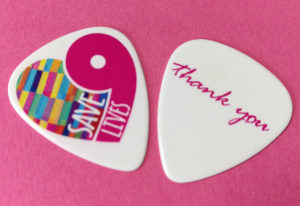 Full colour printed guitar picks for Save9Lives charity