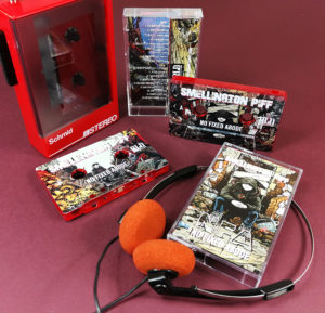 Transparent red cassette tapes with full coverage (including the middle window) UV-LED printing