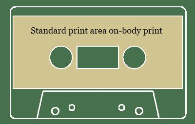 Cassette tape standard on-body printing area