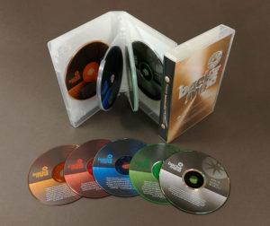 Coloured CDs in storybook set