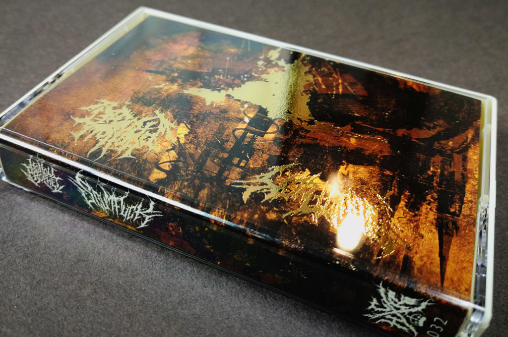 Gold foil printing on cassette tape J-cards
