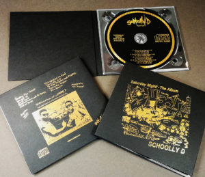 Black card CD digipaks with gold hot foil printing and UV-LED printed gold discs