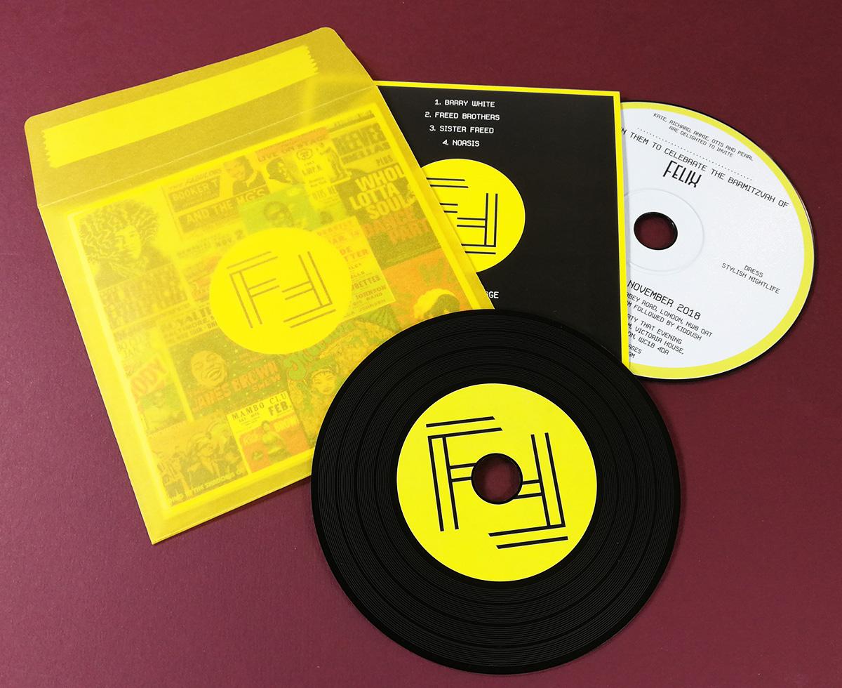 UV-LED printed black vinyl discs (printed both sides) in printed wallets and semi-transparent mailer wallet