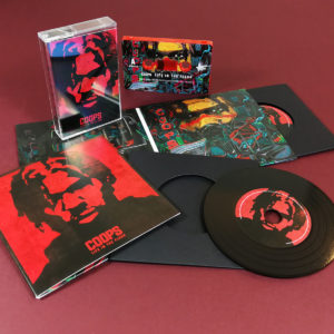 Premium black vinyl CDs in 4 page gatefold wallets and matching red cassette tapes with full coverage on-body printing