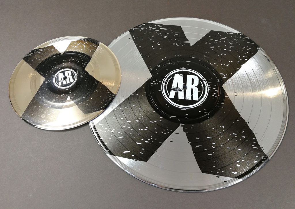 "UV LED printed 7"" and 12"" vinyl records with black and white prints"