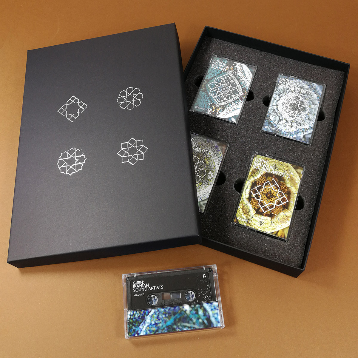 A4 quad cassette tape box set with silver foil lid printing