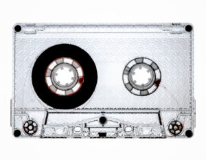 Clear prison cassette tape with spot gloss UV-LED full coverage printing