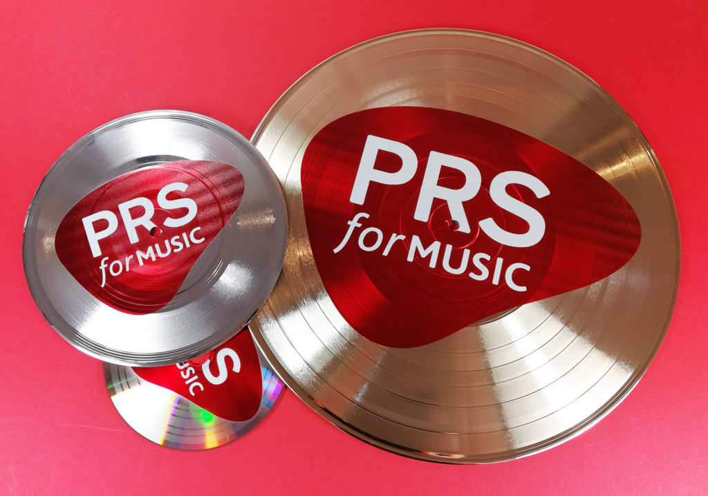 "12"", 7""and 5"" gold and silver vinyls and CDs printed with full colour on-body UV-LED printing"