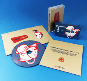 Custom full picture vinyl-effect CDs and petrol blue cassettes, with brown Manila printed wallets and tape J-cards