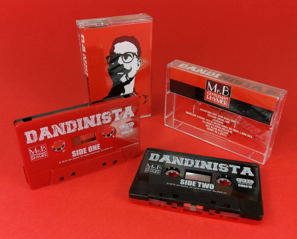 Red and black sandwich cassette tapes, produced for Mr. B The Gentleman Rhymer