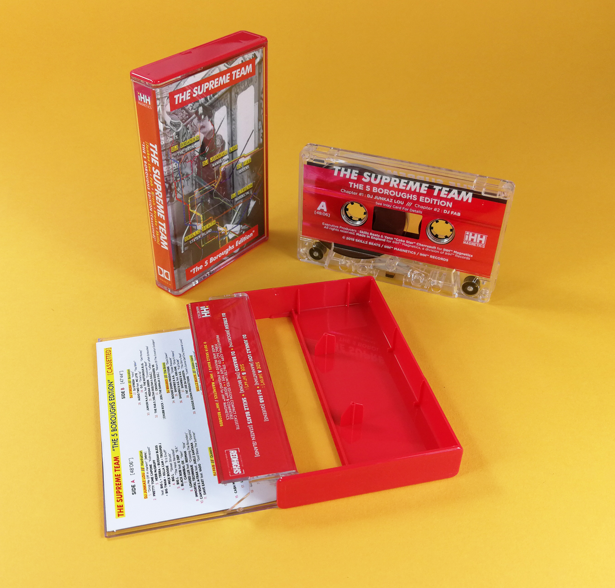 Red metallic liner cassette tapes with white on-body printing and packed in our red back and clear front cases