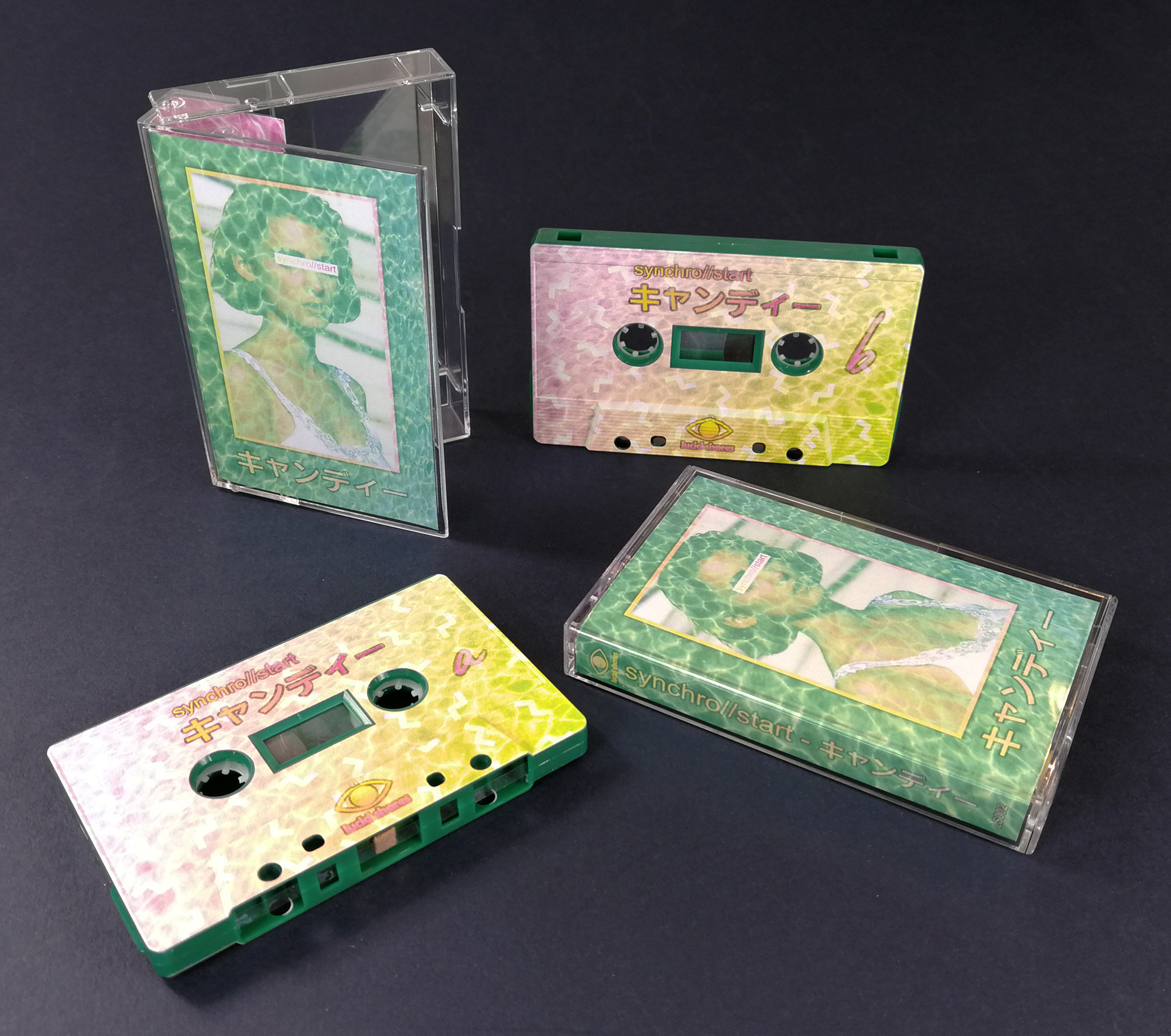 Jade green cassette tapes with full colour on-body UV-LED printing in cases with J-cards