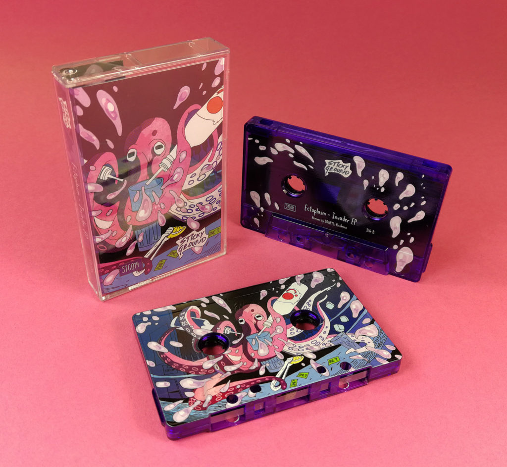 Transparent purple cassette tapes with full coverage, full colour on-body UV-LED printing