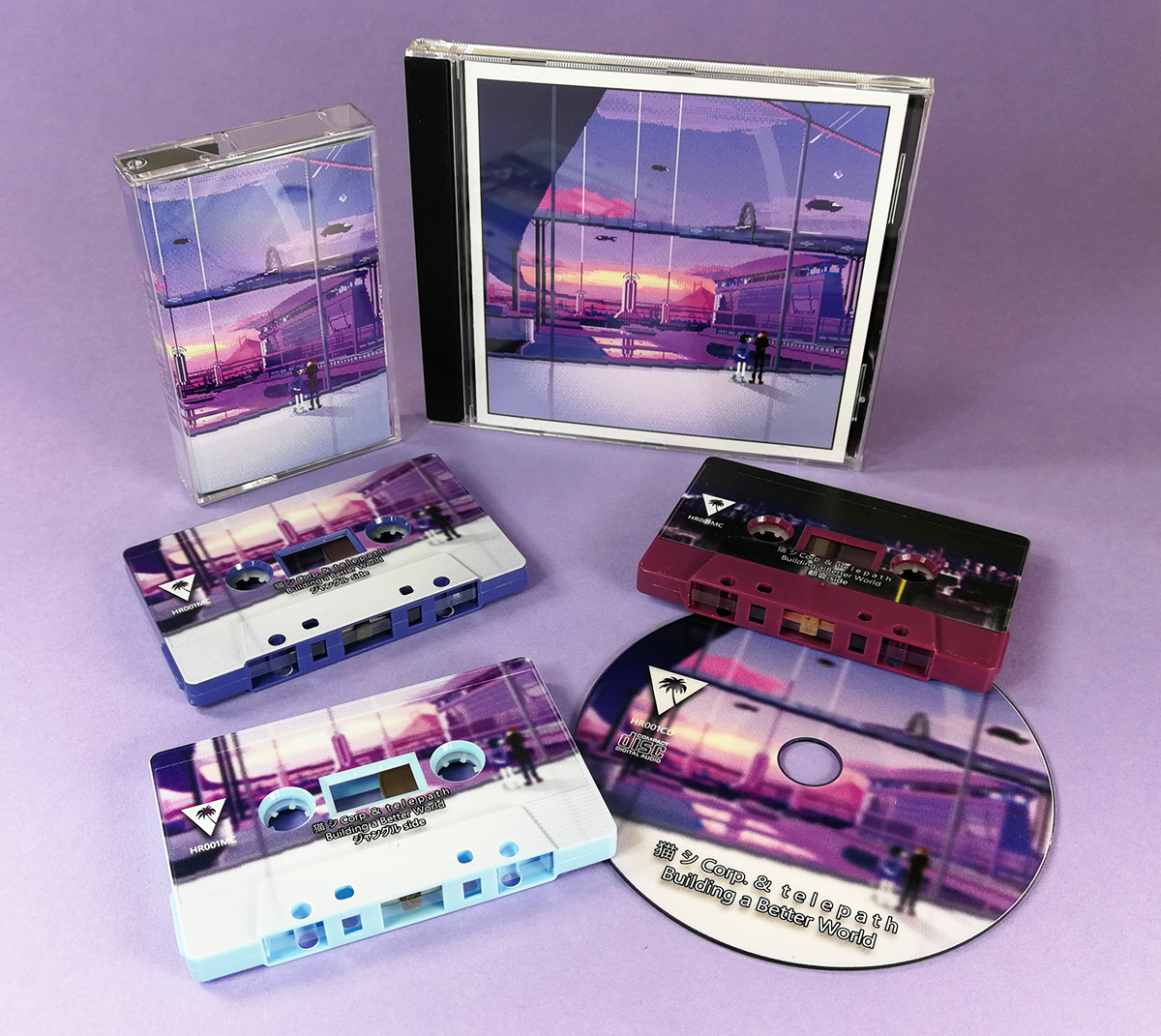 Sky blue, Tanzania purple and blackberry purple tapes with full coverage on boy printing, plus matching CDs in jewel cases
