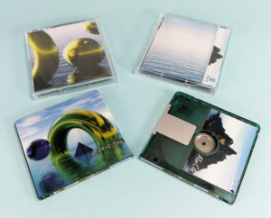 Green MiniDiscs with full colour on-body top, underside and spine printing