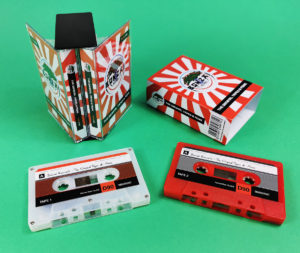 Double butterfly cassette case with two old-school style tapes and an outer O-card
