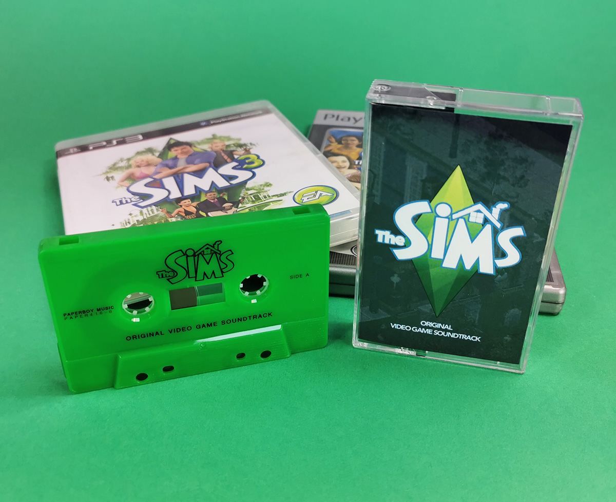 The Sims video game soundtrack on green jelly audio cassette tapes with on-body black printing