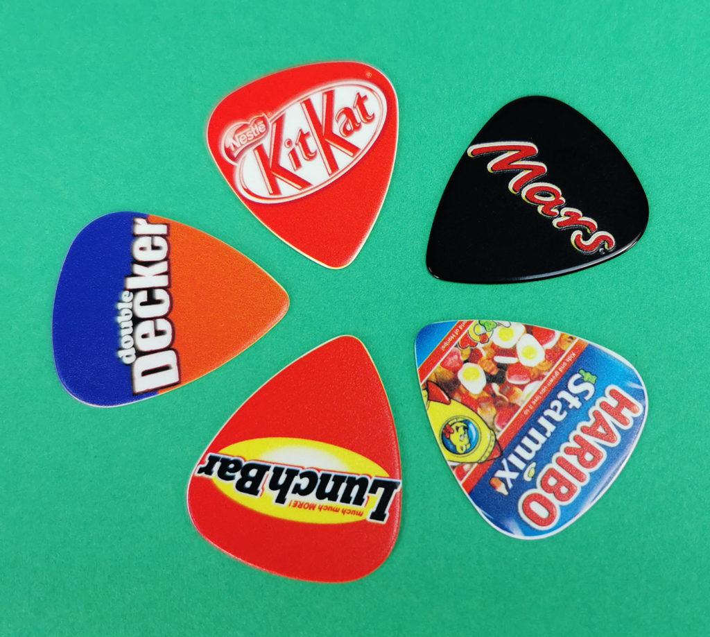 Double Decker, KitKat, Mars, LunchBar and Haribo themed guitar picks