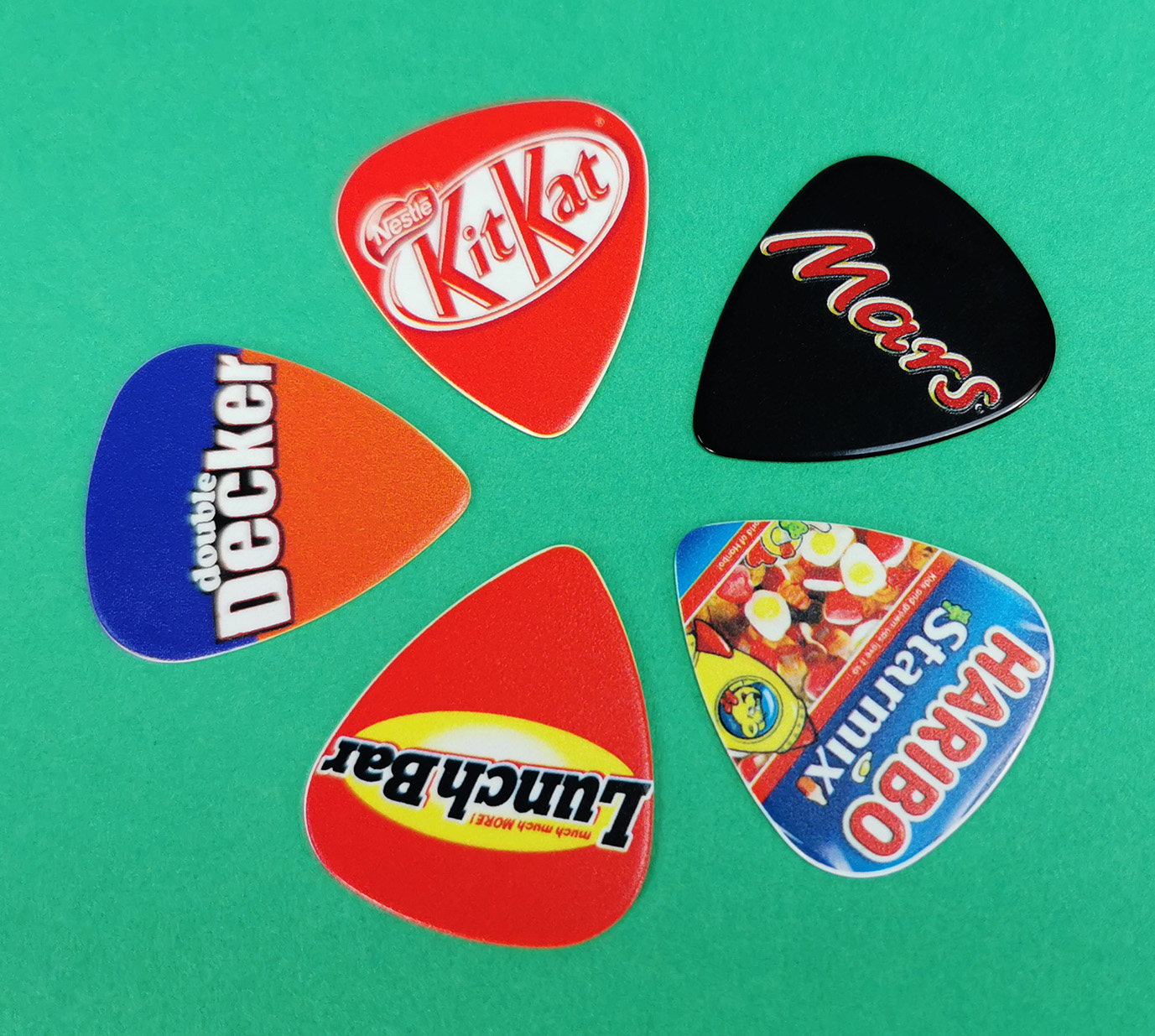 Double Decker, KitKat, Mars, LunchBar and Haribo themed guitar picks