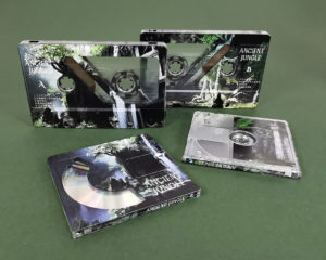 Full coverage cassette tapes and MiniDiscs with custom partial white base layers for unique effects
