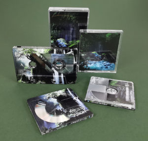 Full coverage cassette tapes and MiniDiscs with custom partial reveal white base layer to create a stunning design