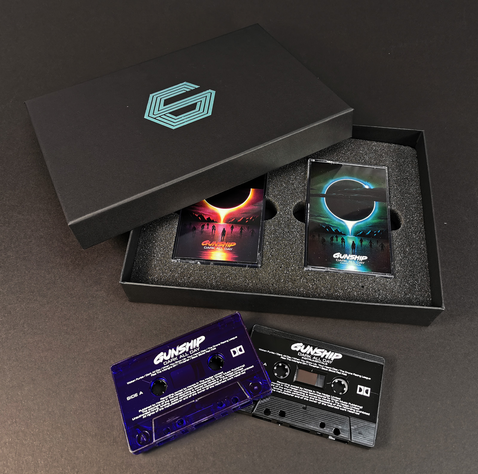 Double cassette tape box set with turquoise lid printing