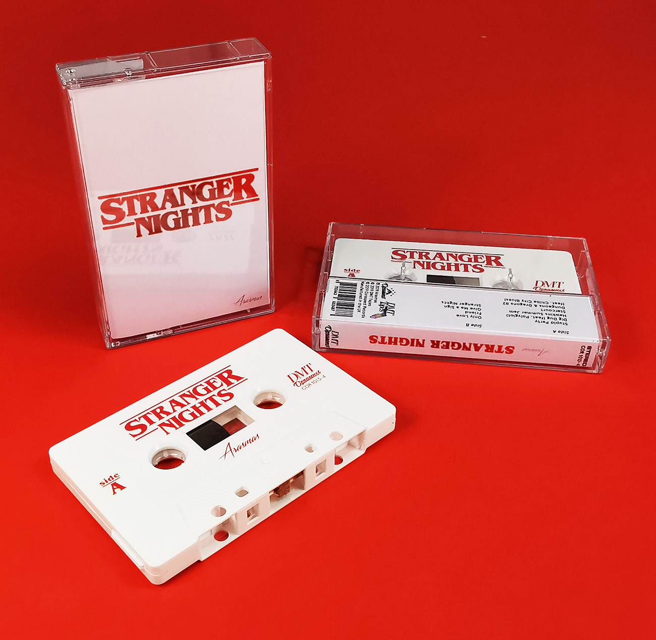 Stranger Nights cassette tapes in the branding style of 'Stranger Things'