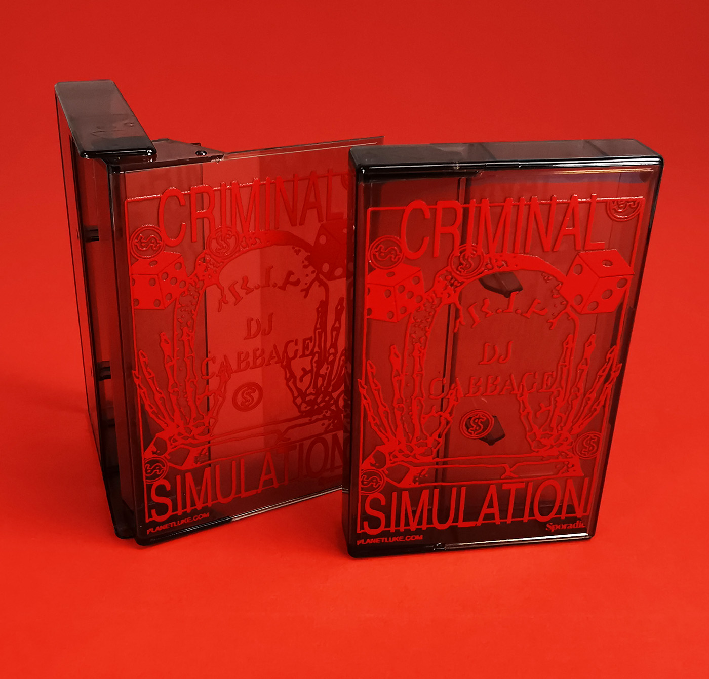 Red on-body UV-LED printing on our clear brown smokey cassette cases