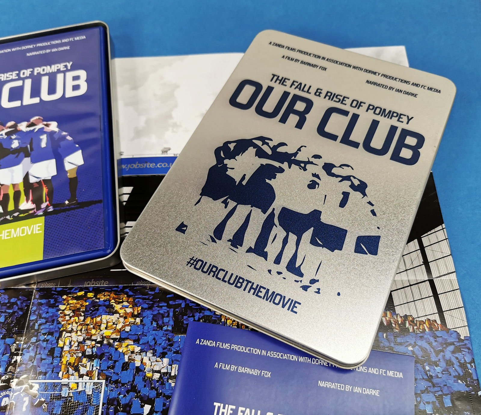 Portsmouth Football Club DVD in both 2 page wallets and special DVD case in printed metal tins with posters and booklets