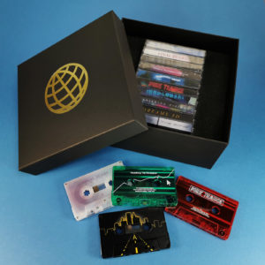 Ten cassette tape box set with gold foil lid printing