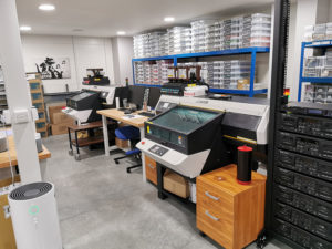 Our Mimaki on-body UV-LED printers for printing CDs, tapes, MiniDiscs, tins and cases