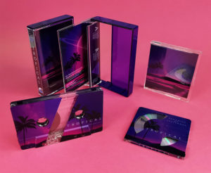 Clear MiniDiscs and cassette tapes with a partial white base layer and colour printing to create a really interesting reveal