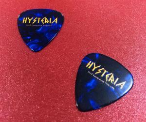 Dark blue guitar picks with full colour printing onto a white base