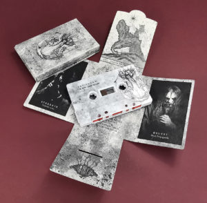 Grey cassette tapes with full coverage on-body printing in printed recycled eco-natural card Maltese cross packs