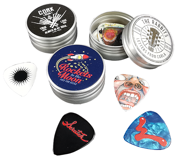 Custom printed guitar pick tins