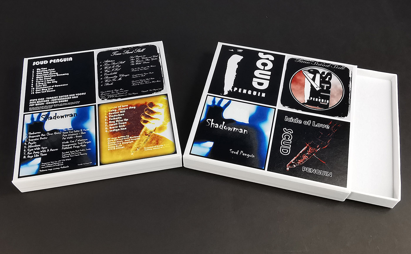 White CD presentation matchboxes with full colour printing for a four CD wallet collection