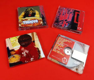 """TOBACCO """"Maniac Meat"""" MiniDiscs produced for the Rad Cult label"""