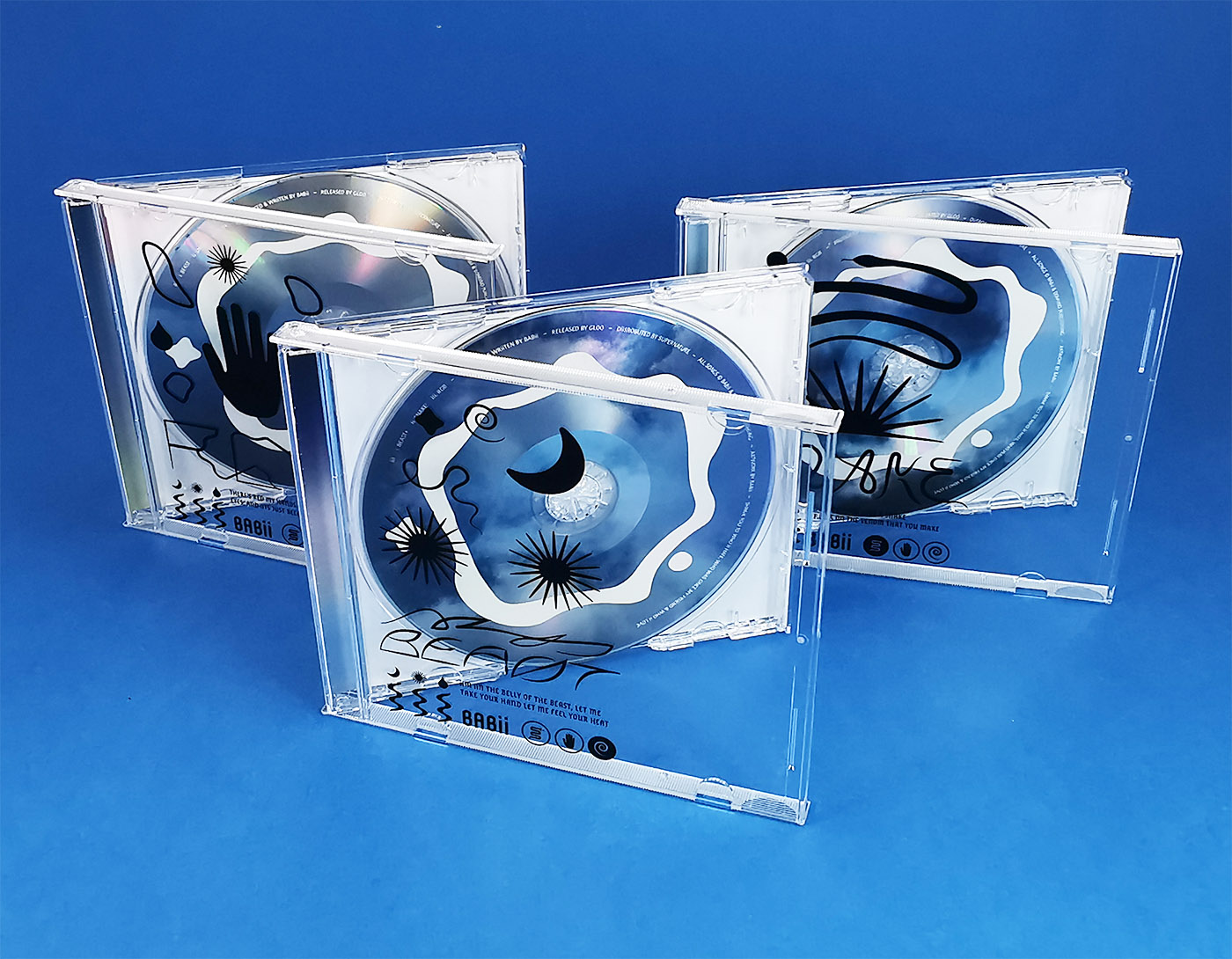Triple CD jewel case set with on-body printing directly on the jewel cases