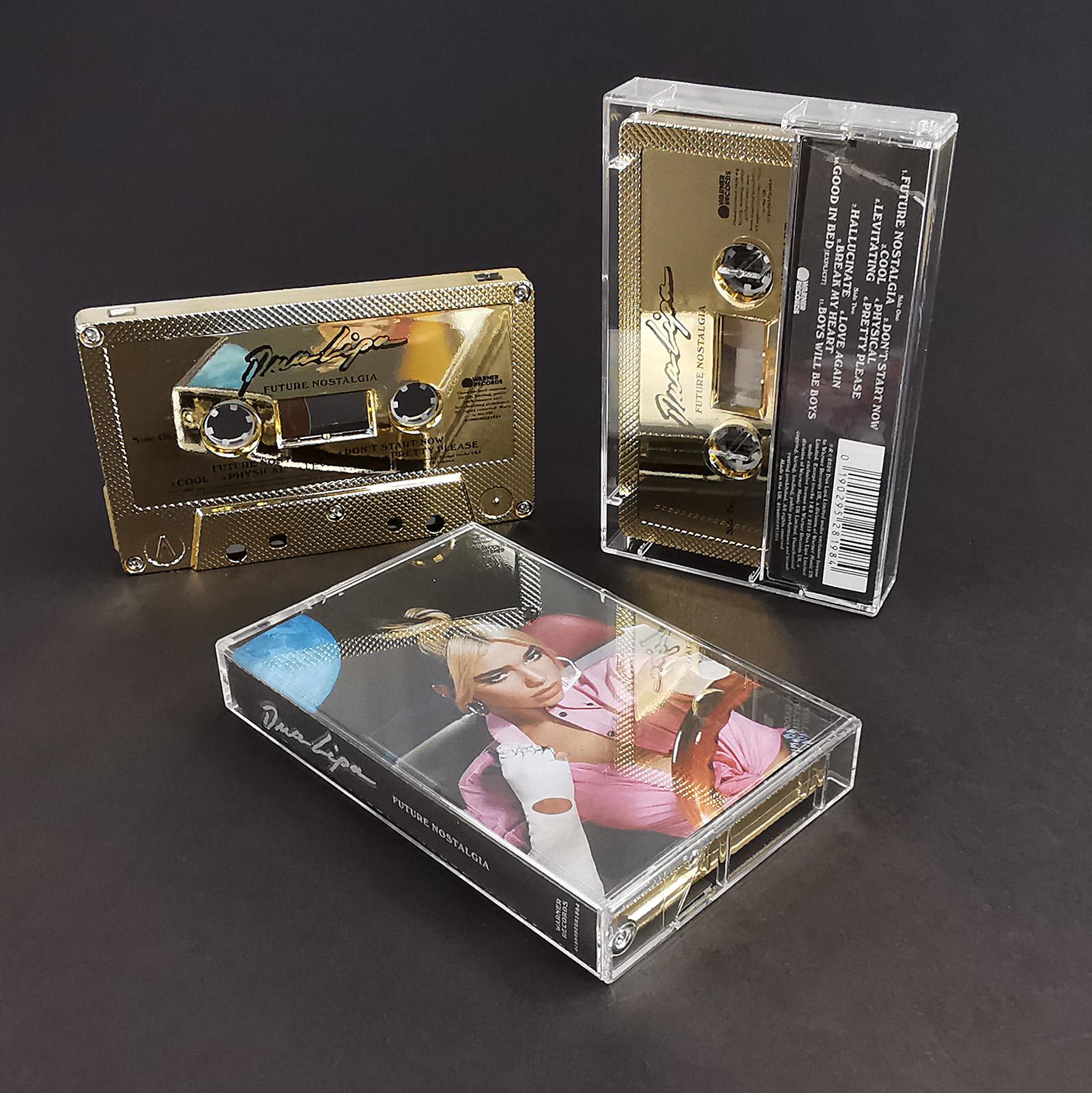 Dua Lipa Future Nostalgia mirror gold cassette tapes with on-body printing
