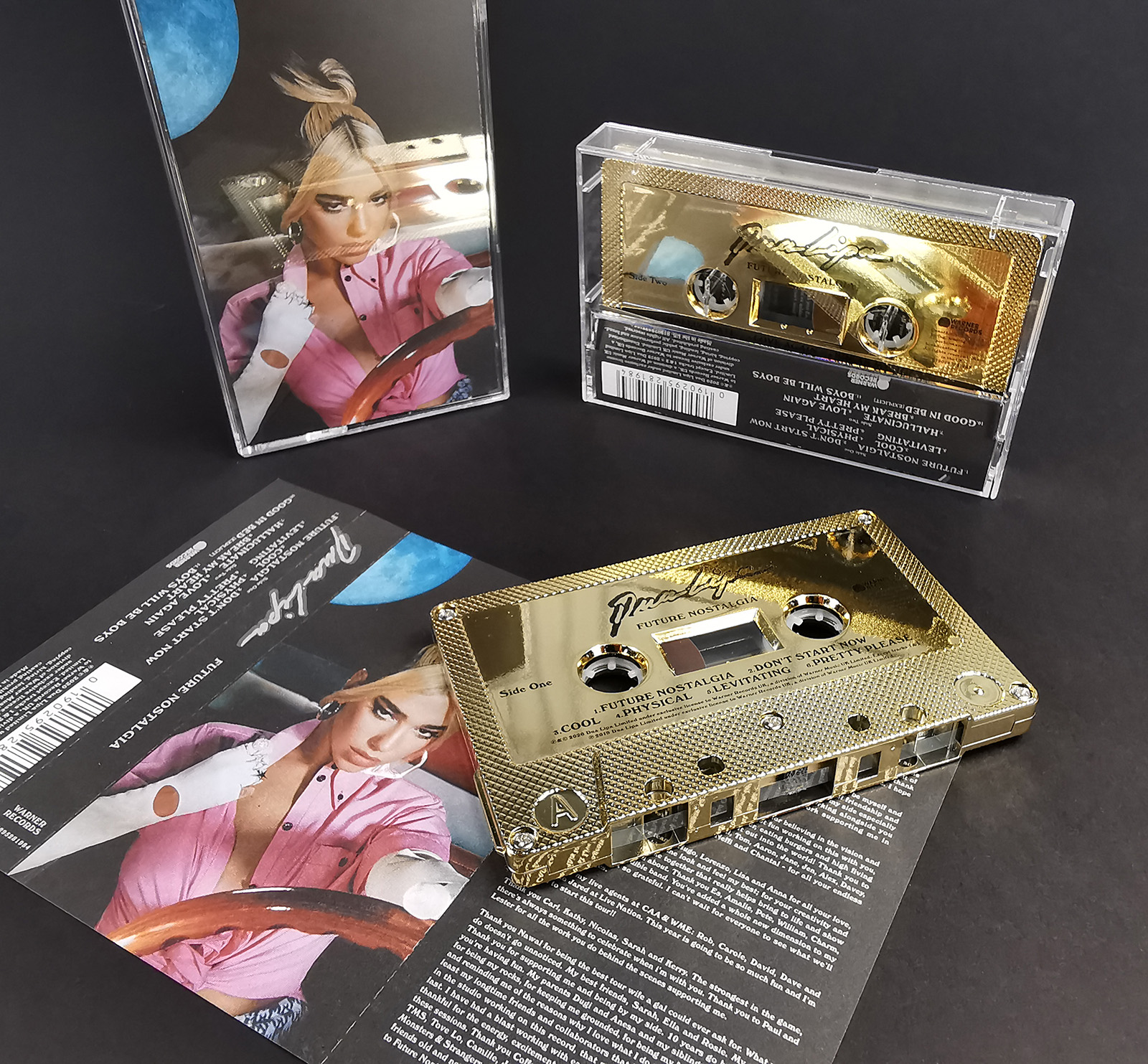 Dua Lipa Future Nostalgia mirror gold cassette tapes with on-body printing