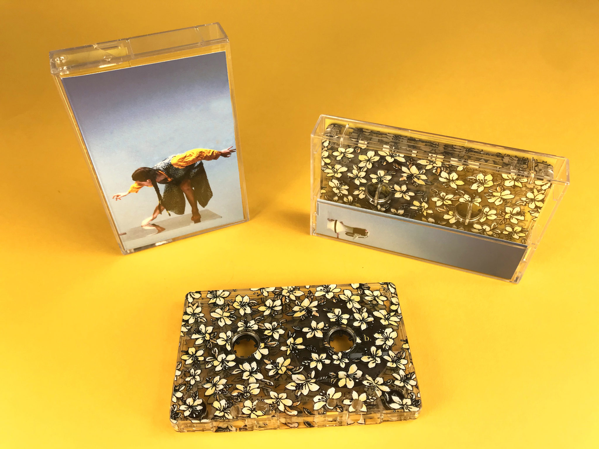 Floral on-body printed cassettes produced for Rubie Roo